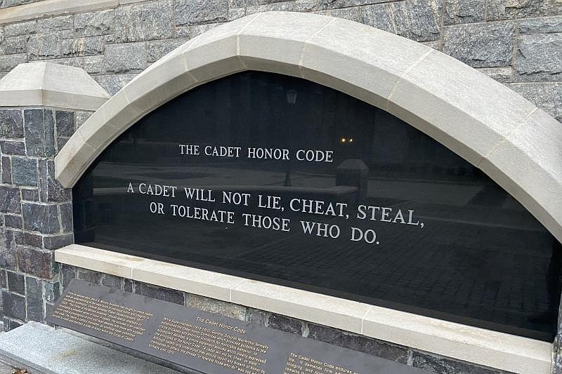 A monument on the West Point campus states the military academy's honor code....