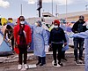 Health care workers from the city of Tijuana gi...