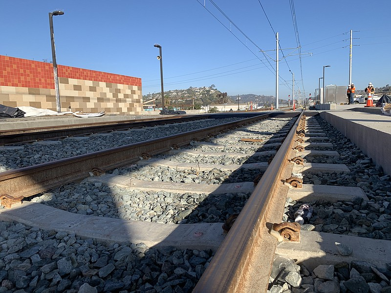 The tracks of the future Mid-Coast Trolley extension are seen here, March 5, ...