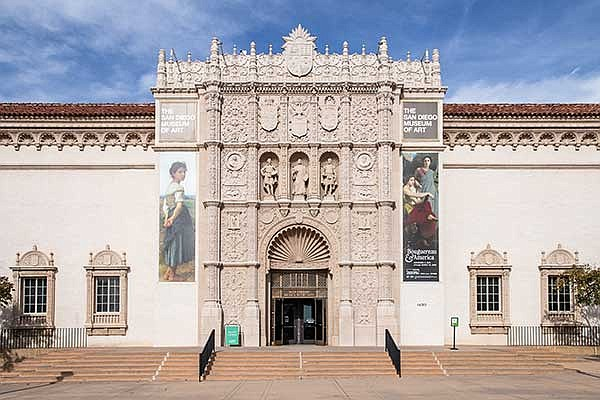 The exterior of the San Diego Museum of Art in Balboa Park is pictured in an ...