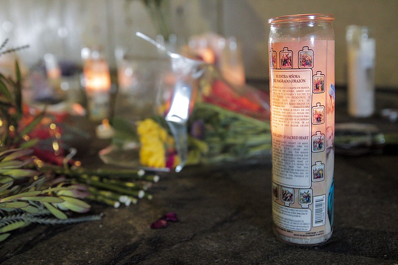 A makeshift memorial is set up under the San Diego City College Bridge on B S...