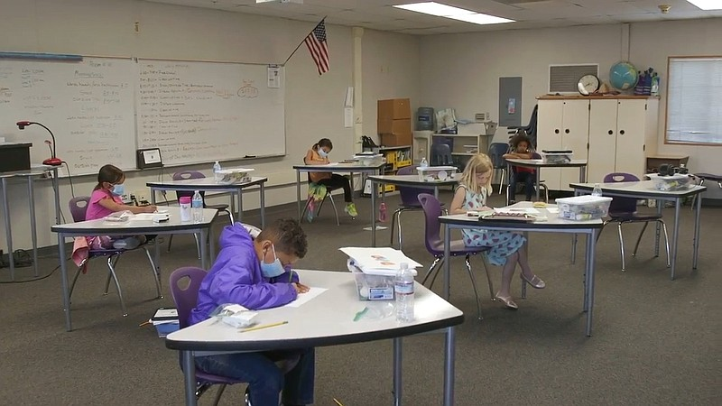 Students in a modified classroom for COVID-19 safety at the Cajon Valley Unio...