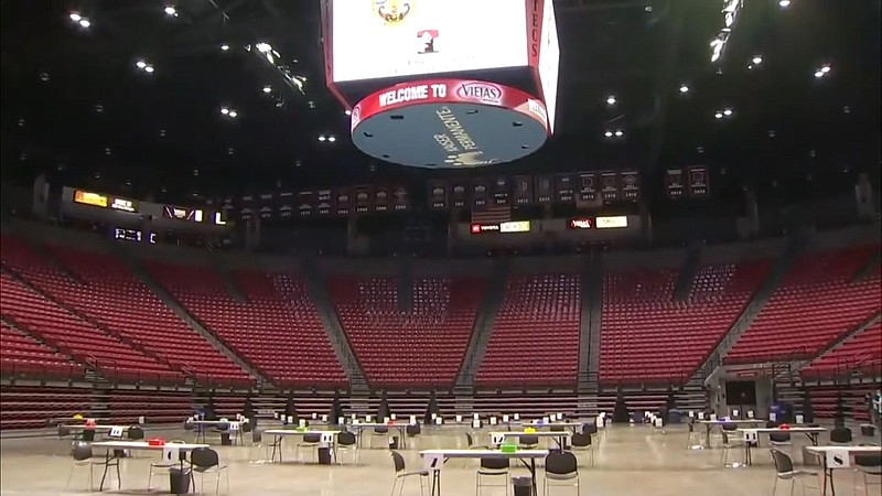 The setup inside San Diego State's Viejas Arena, the county's newest COVID-19...