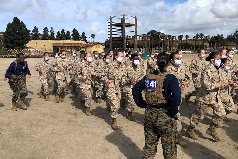The first class of female recruits arrived at Marine Corps Recruit Depot San ...