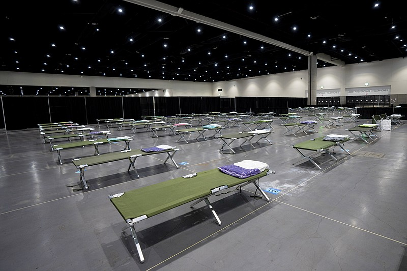 Cots laid out for unaccompanied migrant teens temporarily sheltering at the S...