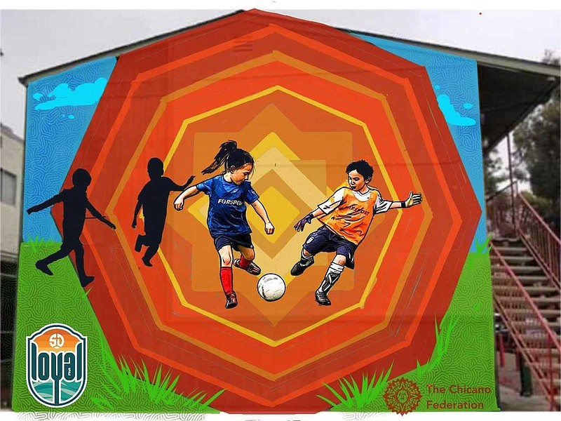 The Chicano Federation and the San Diego Loyal Soccer Club created a mural wi...