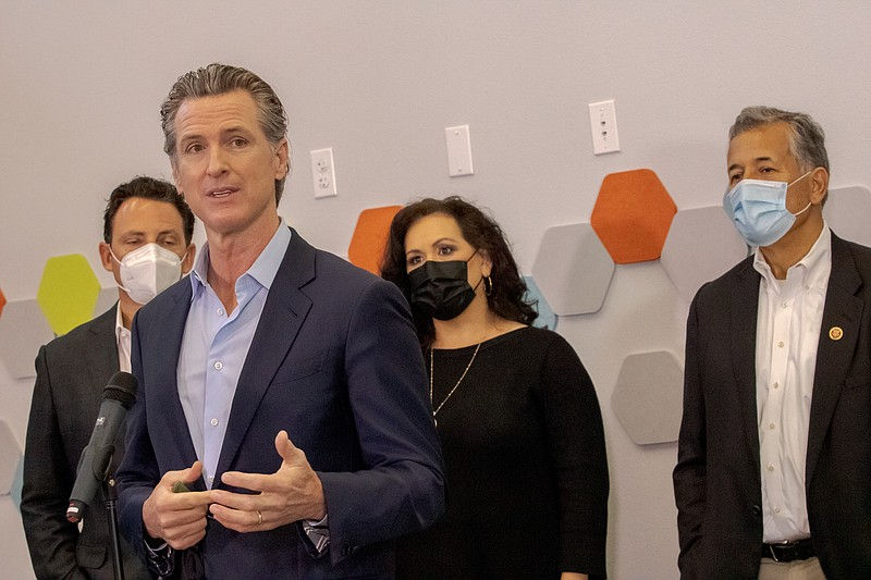 Governor Gavin Newsom speaks at a COVID-19 vaccination site in City Heights, ...