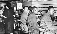 Black college students sit-in at a lunch counte...
