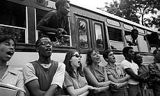 Freedom Summer workers link arms, 1964.