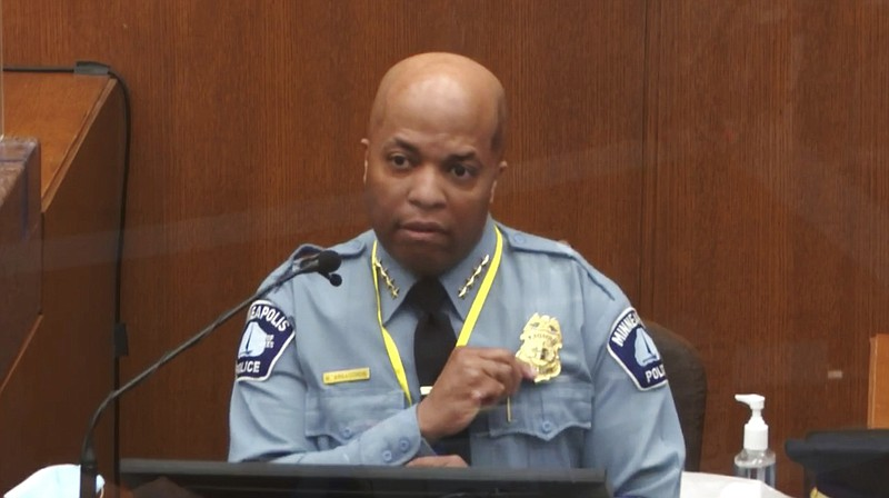 In this image from video, witness Minneapolis Police Chief Medaria Arradondo ...