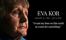 Eva Kor (pictured with quote) spread her messag...