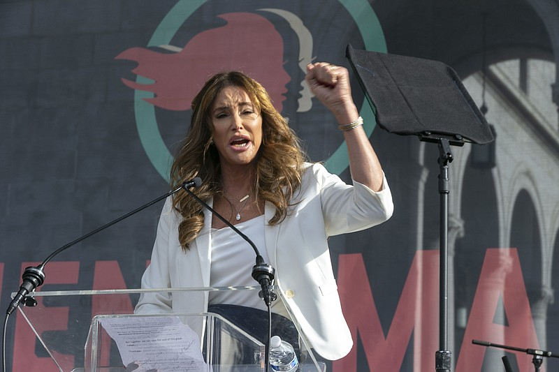 In this Jan. 18, 2020, file photo Caitlyn Jenner speaks at the 4th Women's Ma...