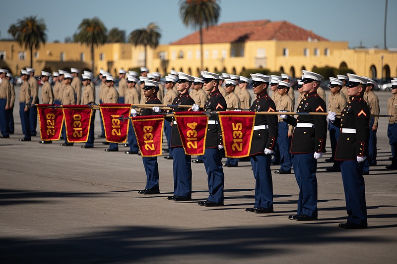 New Marines of Fox Company, 2nd Recruit Training Battalion, stand in formatio...