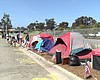 Line of tents at the Oceanside Homeless Encampm...