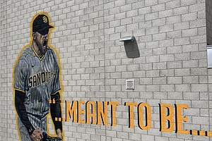Photo for Padres Pitcher Joe Musgrove Is Celebrated In Mural At Alma Mater Grossmont Hi...