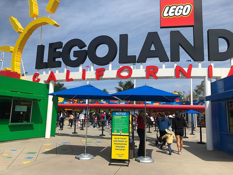 The Legoland entrance is pictured, April 15, 2021.