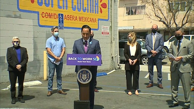 San Diego Mayor Todd Gloria holds a press conference in front of Super Cucina...