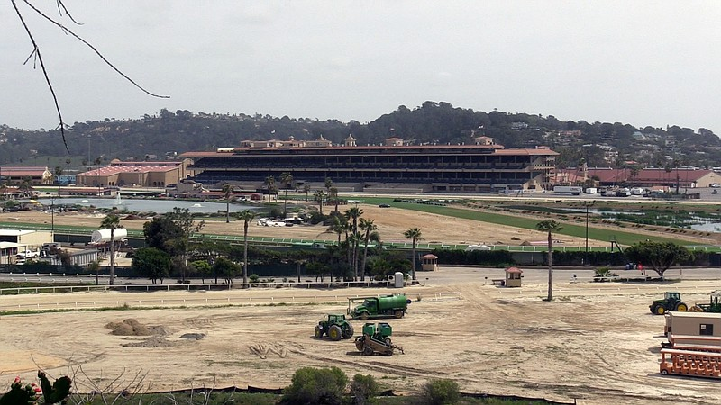 The grandstand is shown at the Del Mar Fairgrounds, April 14, 2021.