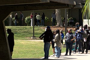 Photo for Long Lines For One-Day Vaccination Event At Southwestern College
