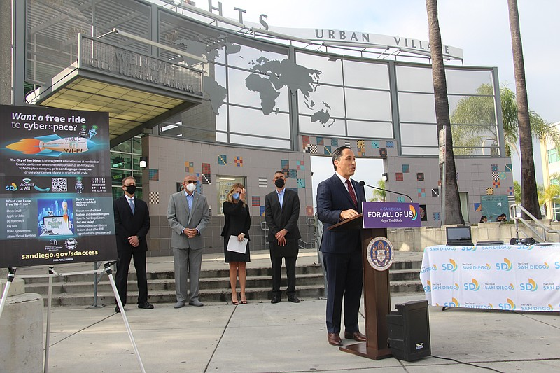 San Diego Mayor Todd Gloria announcing expanded free Wi-Fi access in San Dieg...