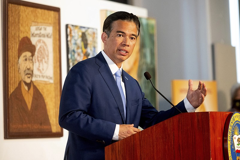 In this March 24, 2021, file photo, California Assemblyman Rob Bonta speaks d...