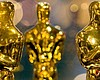 Oscar statuettes are shown in this photo taken ...
