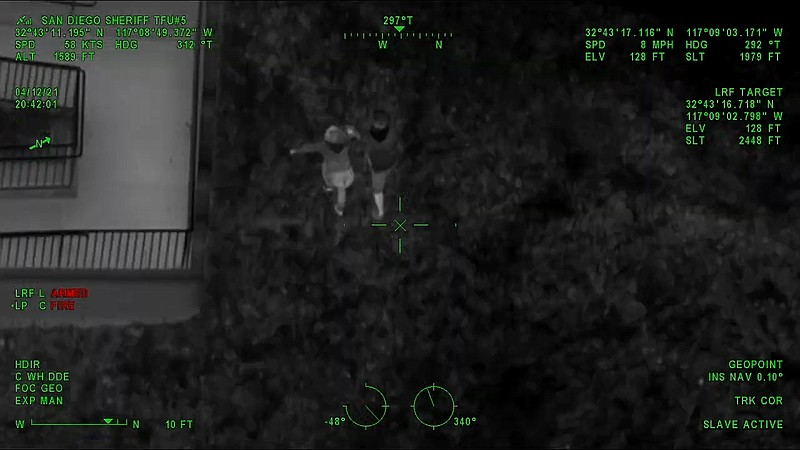Image captured aboard a San Diego Police Department patrol helicopter showing...