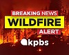The KPBS wildfire alert graphic is pictured in ...