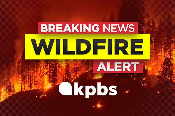 The KPBS wildfire alert graphic is pictured in this undated image.