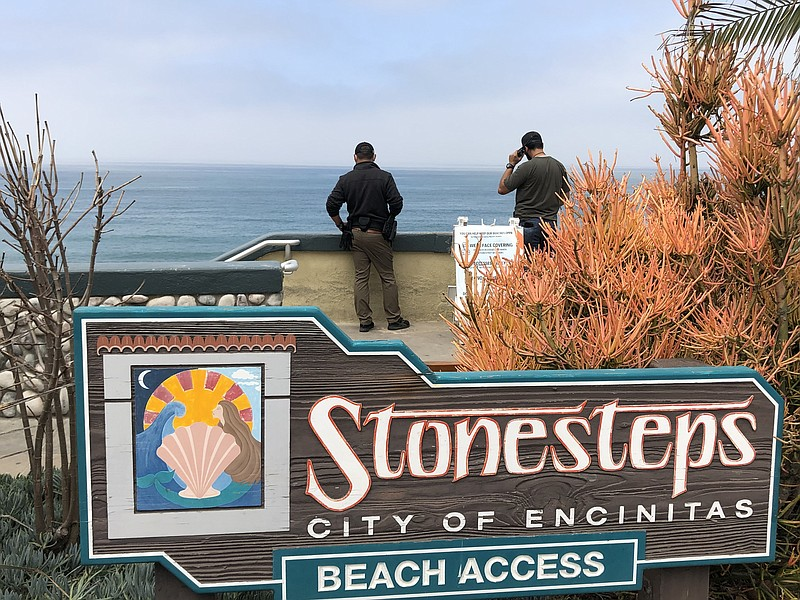 Border Patrol agents stand at the top of stairs at Stonesteps Beach, May 4, 2...