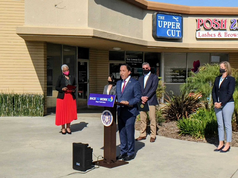 San Diego Mayor Todd Gloria speaks at press conference in Kearney Mesa, May 4...