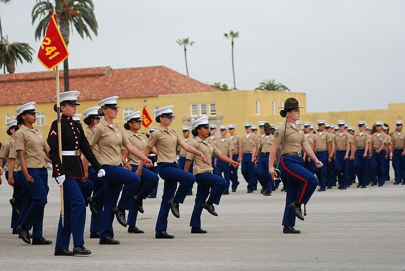 Platoon 3241 marches in formation at graduation, May 6, 2021.