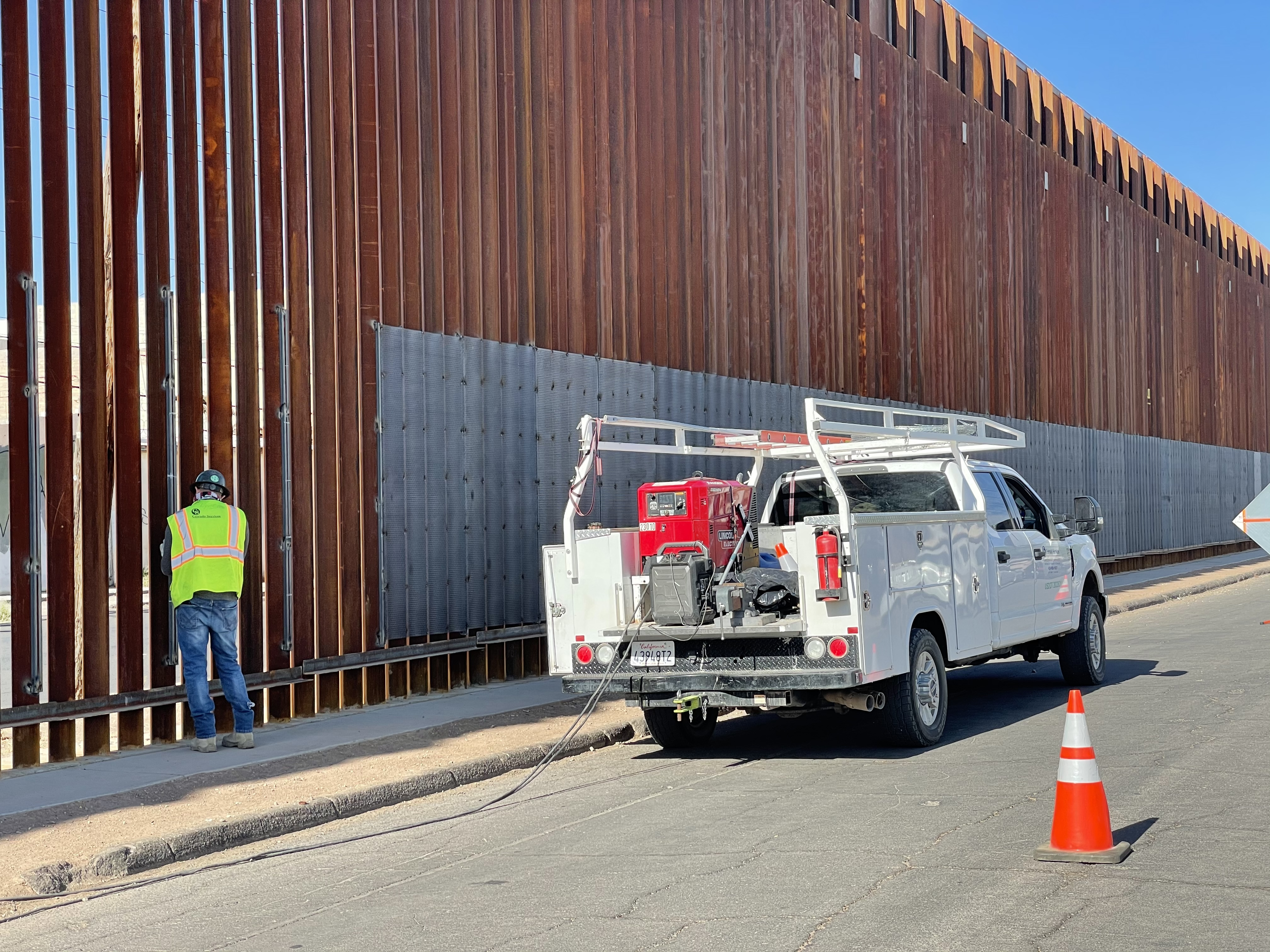 Border Wall In Calexico Gets Reinforced With New Sheets Of Metal Mesh