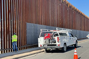 Photo for Border Wall In Calexico Gets Reinforced With New Sheets Of Metal Mesh