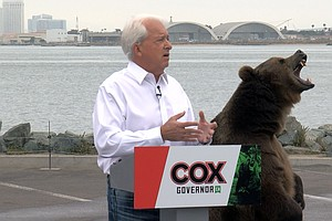 Photo for Gubernatorial Candidate John Cox Brings Bear, Draws Protest To San Diego Camp...