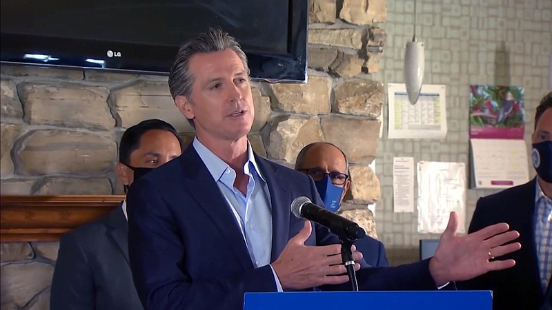Gov. Gavin Newsom appearing in San Diego on May 11, 2021, to highlight his $1...