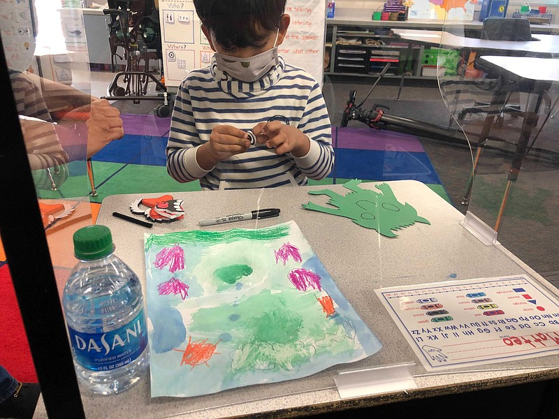 A student at Joseph Casillas Elementary School in Chula Vista works on his ar...