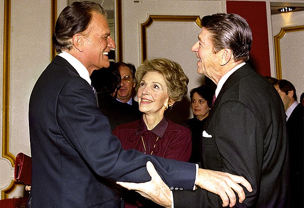 Billy Graham (left) with Nancy and Ronald Reagan. 1981.