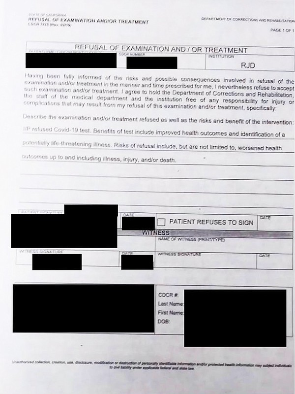 A photo of this form, obtained and redacted by inewsource...