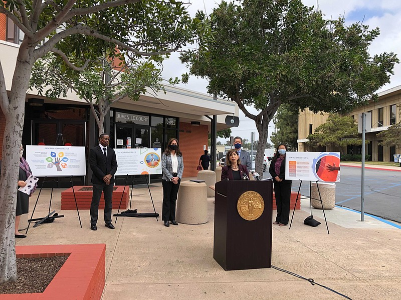 San Diego County District Attorney Summer Stephan speaks at a press conferenc...