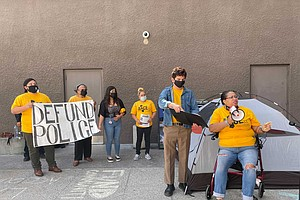Photo for Activists Gather At San Diego City Hall To Protest Mayor's Police Budget