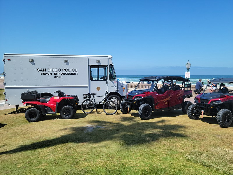 San Diego Police beach patrol vehicles shown at Mission Beach on May 27, 2021.