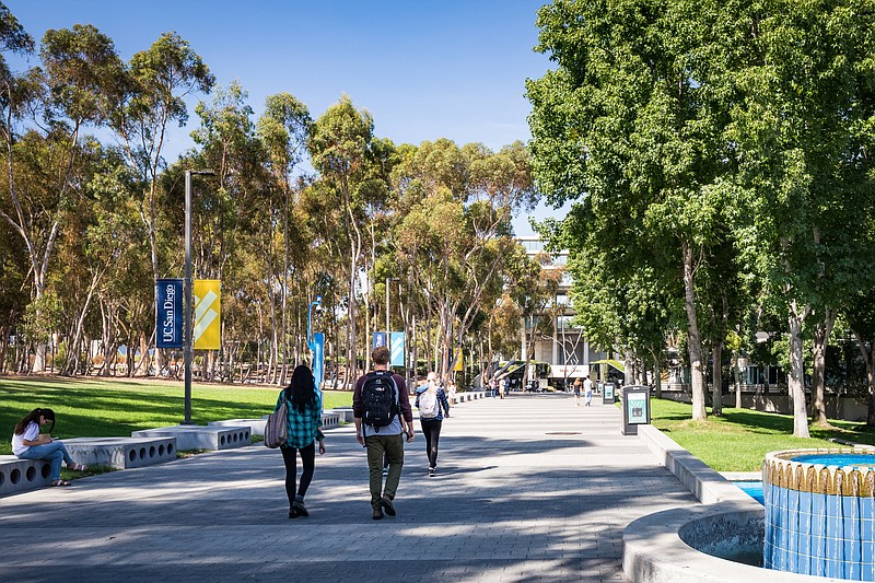 Students walk on UC San Diego campus in this undated image.