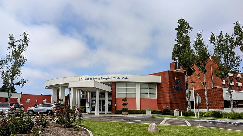 The entrance to Scripps Mercy Hospital Chula Vista in a photo taken June 1, 2...