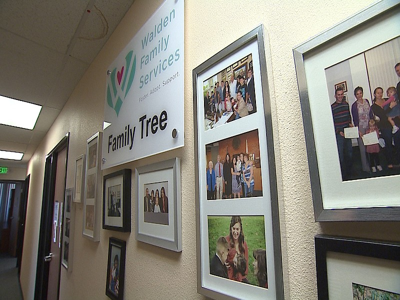 A hallway at Walden Family Services, a foster care agency in San Diego, with ...