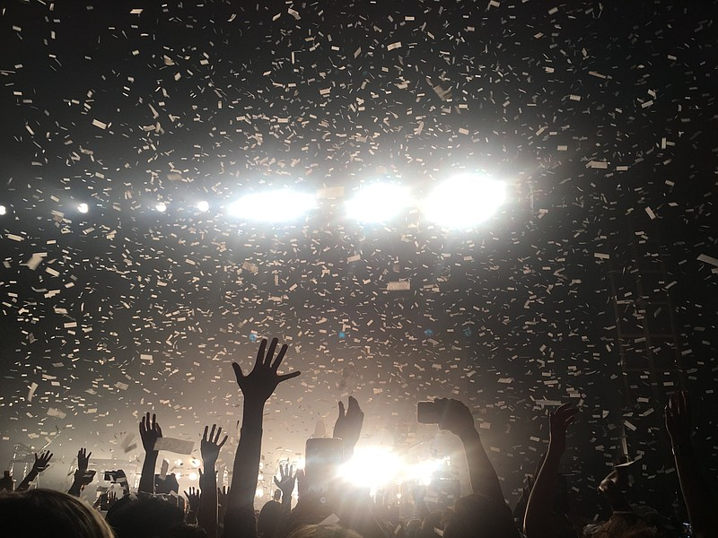Confetti falls on fans at a concert at the Observatory North Park on April 19...