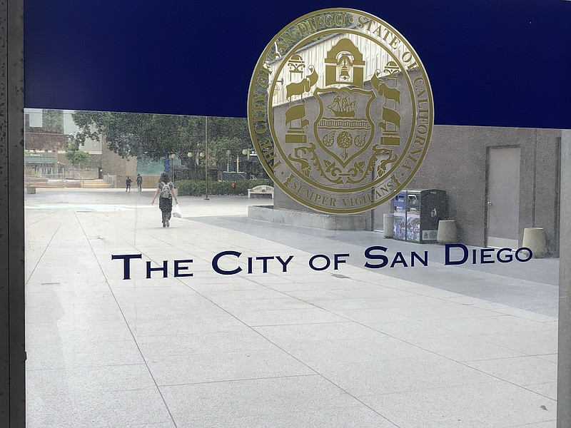 The City of San Diego sign is pictured at San Diego City Hall, June 15, 2021.