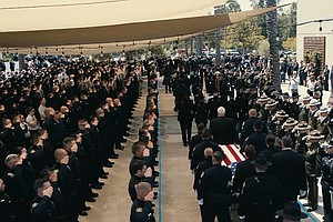 Photo for Funeral Honors SDPD Detectives Killed In Wrong-Way Freeway Crash