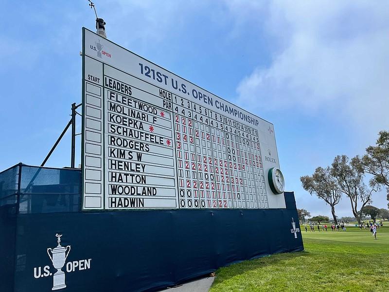 A scoreboard at the U.S. Open at Torrey Pines Golf Course. June 17, 2021.
