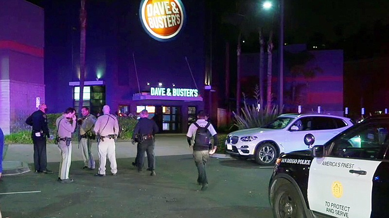 San Diego police and sheriff's deputies outside Dave & Buster's in Mission Va...